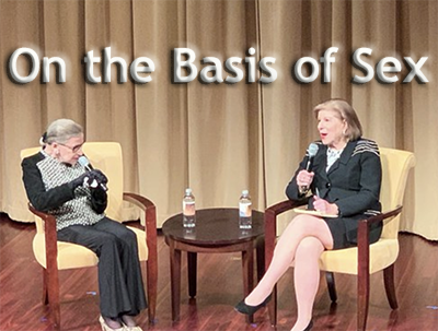 """A photo of NPR's Nina Totenberg interviewing Ruth Bader Ginsburg about the movie """"On the Basis of Sex"""""""