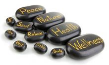 Photo of Chines Stones with words representing the therapy (calm, smooth, peace)