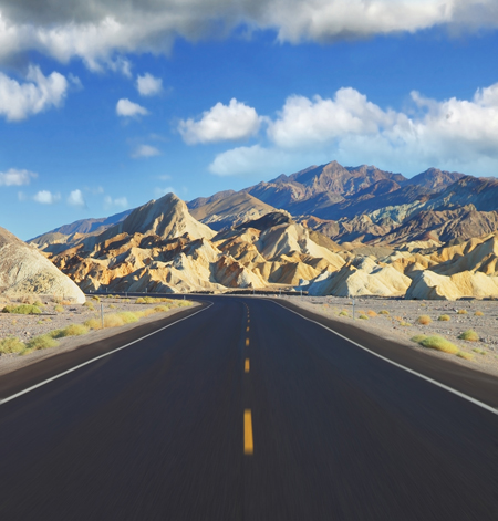 California Highway and Mountains Scene