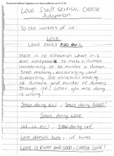 Scan of a hate note to INCIID on the Evils of IVF and referring to INCIID as murderers