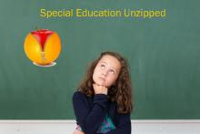 A schoolgirl in front of a blackboard with an orange unzipping to be come an apple